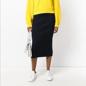 • Kenzo Paris • Bodycon Wool Ribbed Knit Skirt Lg